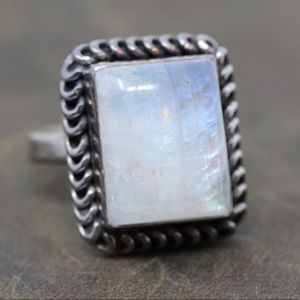 Jewelry - BALI Sterling Silver Moonstone Rectangle Ring 7.5